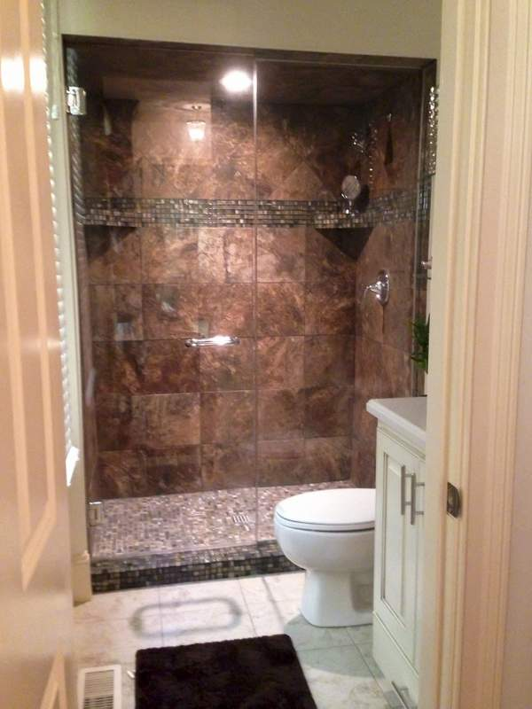 Walk in tile shower replaces tub shower combination - Small bathroom remodel with tub ...