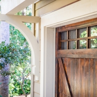 Detailed view of the brackets, trim, garage doors