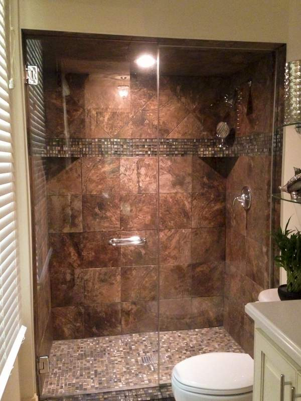 Slate Shower With Gleaming Glass Doors