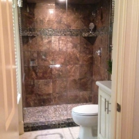 Slate Shower with Glass Door