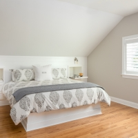 Master bedroom with custom niche night tables